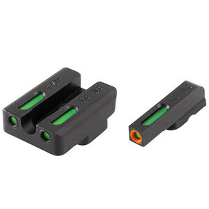 TRUGLO TFX Pro CZ 75 Front and Rear Set Green TFO Night Sights Orange Ring Steel Black TG13CZ1PC