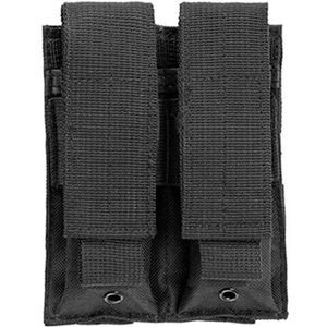 NcSTAR Double Pistol Mag Pouch Holds Two Double Stack Mags Synthetic Fabric MOLLE Compatible Black