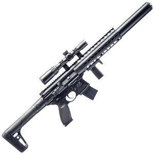 SIG Sauer MCX ASP CO2 Semi Auto Air Rifle .177 Caliber 30 Rounds 750 fps Metal Housing Aluminum Handguard Synthetic Stock Black AIR-MCX-SCOPE-177-88G-30-BLK