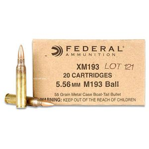 Federal XM193 5.56 NATO 55 gr FMJ 450 Rounds on Stripper Clips