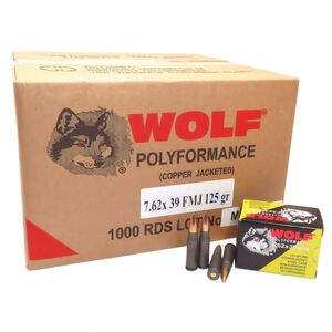 Wolf Performance 7.62x39 Ammunition 1000 Rounds Steel Case FMJ 125 Grains