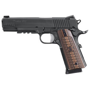 "SIG Sauer 1911 Select Semi Auto Pistol .45 ACP 5.0"" Barrel 8 Rounds SIGLite Sights SIG Rail Custom G10 Grips Stainless Steel Slide/Frame Nitron Black Finish"