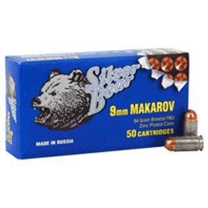 Silver Bear 9x18 Makarov 94 Grain Bi-Metal FMJ 50 Round Box