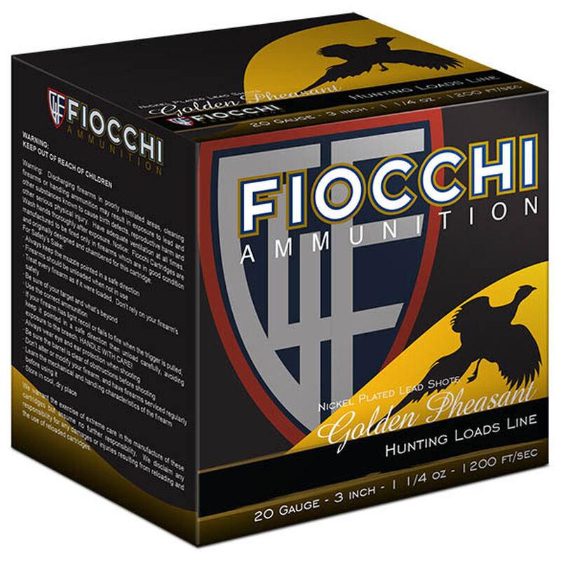"Fiocchi Golden Pheasant 20 Gauge Ammunition 250 Rounds 3"" #4 Shot 1-1/4oz Nickel Plated Lead 1200fps"