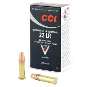 CCI Segmented Hollow Point .22LR Ammunition Sub-Sonic 40 Grain CPSHP 1050 fps