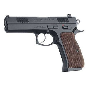 "CZ 97B Semi Automatic Handgun .45 ACP 4.8"" Barrel 10 Rounds Wood Grips Black Polycoat Finish 01401"