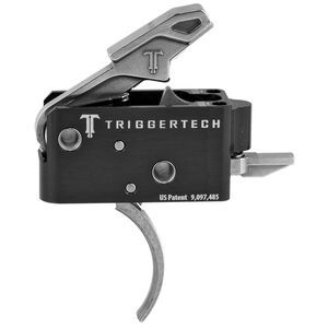 Trigger Tech Competitive AR-15 Primary Drop In Replacement Trigger Curved Lever Two Stage Non-Adjustable Natural Stainless Steel Finish