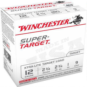 "Winchester Super-Target 12 Gauge Ammunition 25 Rounds 2 3/4"" #9 Lead 1 Ounce TRGTL129"