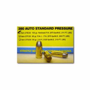 Buffalo Bore  .380 ACP Ammunition 20 Rounds Hard Cast FN 100 Grains 27E/20