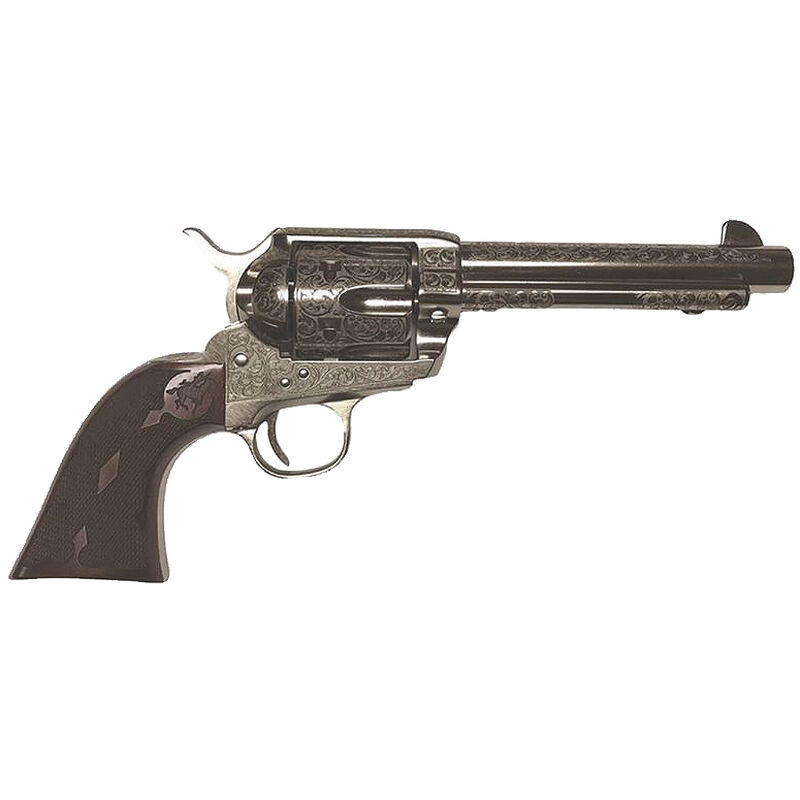 "Cimarron Buffalo Bill Signature Series Frontier .45 LC Single Action Revolver 5.5"" Barrel 6 Rounds Diamond Checkered Walnut Grips Laser Engraved Nickel Finish"