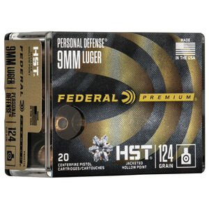 Federal Personal Defense HST 9mm Luger Ammunition 124 Grain JHP 1150 fps