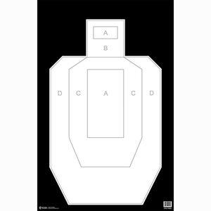 "Action Target High Visibility IPSC/USPSA Paper Target 23"" x 35"" Ivory/Black 100 Pack"