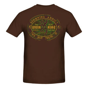 Browning Men's Browning Addict Short Sleeve T Shirt Small Cotton Chocolate