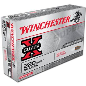 Winchester Super X .220 Swift Ammunition 20 Rounds, JSP, 50 Grain