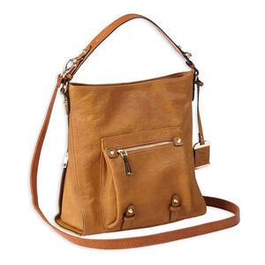 Bulldog Cases ANNA Hobo Style Purse With Conceal Carry Holster; Cognac Color