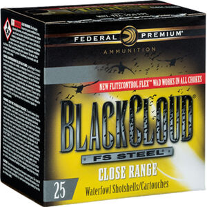 "Federal Black Cloud Close Range 12 Gauge Ammunition 250 Rounds 3"" #2 FS Steel 1-1/4oz with FliteControl Flex Wad 1450fps"