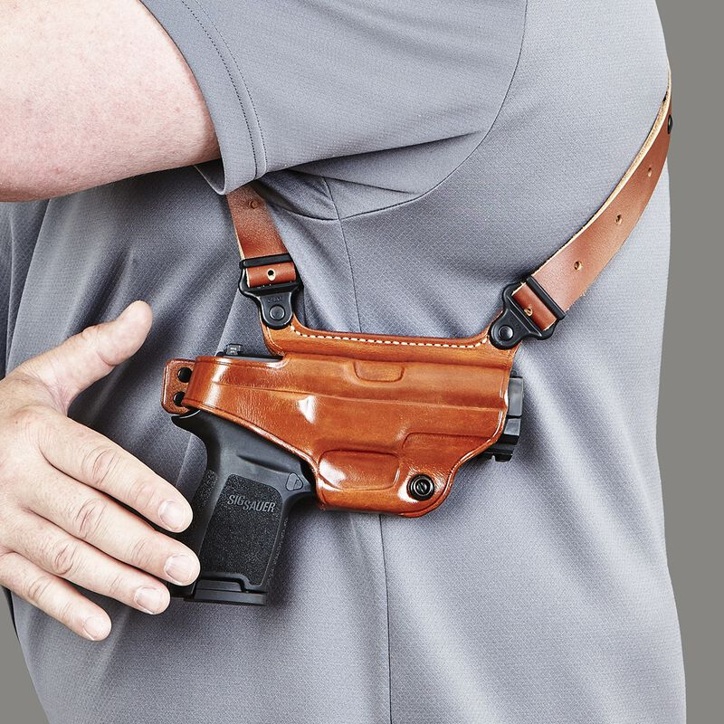Galco Miami Classic Shoulder Holster For GLOCK 17, 19, 26, 22, 23, 27, 31, 32, 33 Right Hand Leather Tan MC224
