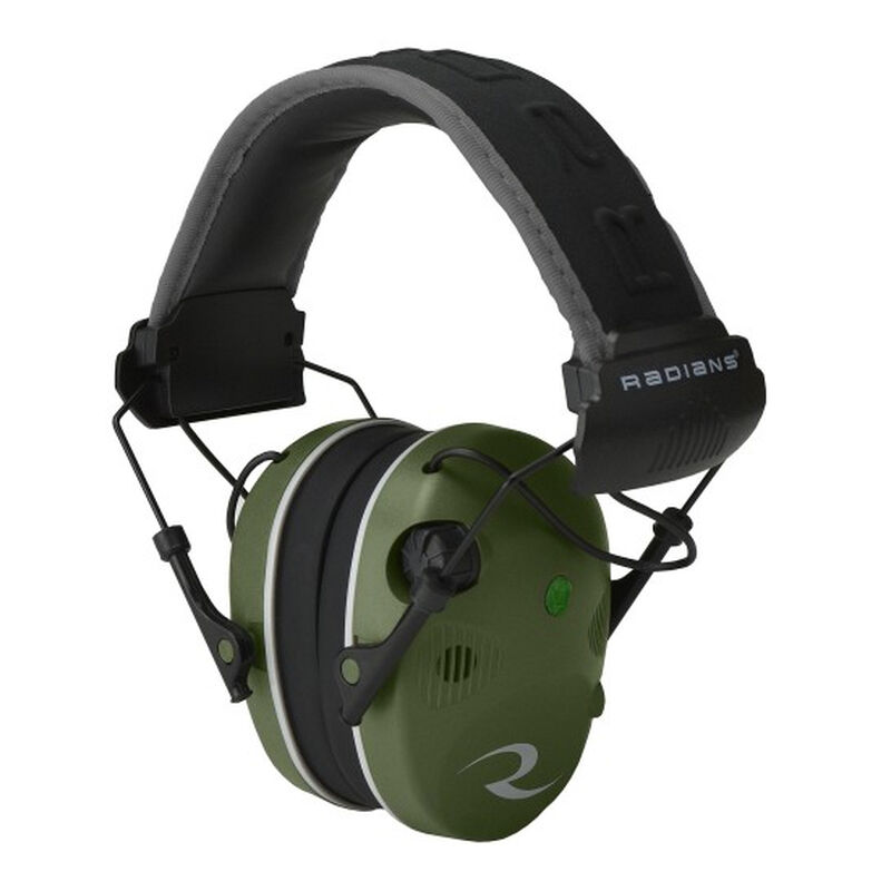 Radians R-Series R-3400 Quad Mic Electronic Earmuff -24dB Noise Reduction Rating 3.5mm Stereo Input Jack Quad Microphones LED Premium Headband Compact Folding Military Green/Black Finish