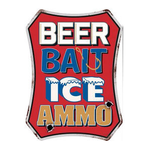 """Open Road Brands Beer Bait Ice Ammo Tin Sign 13.5""""H x 10""""W Embossed"""