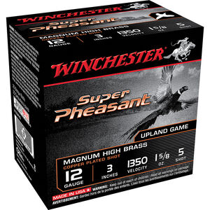 "Winchester Super Pheasant HV High Brass 12 Gauge Ammunition 25 Round Box 3"" #5 Copper Plated Lead Shot 1-5/8 oz 1350 fps"