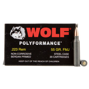 Wolf Polyformance .223 Rem Ammunition 55 Grain FMJ 20 Rounds 3241 fps