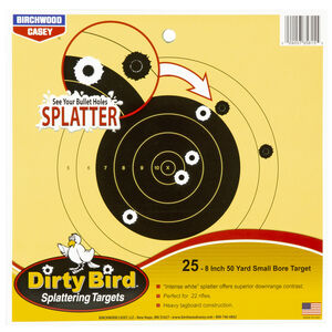 "Birchwood Casey Dirty Bird 50 Yard Small Bore 8"" Targets Contrasting Colors 25 Targets"