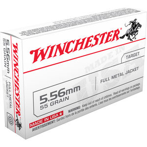 Winchester USA 5.56 NATO Ammunition 20 Rounds XM193 FMJ 55 Grains Q3131