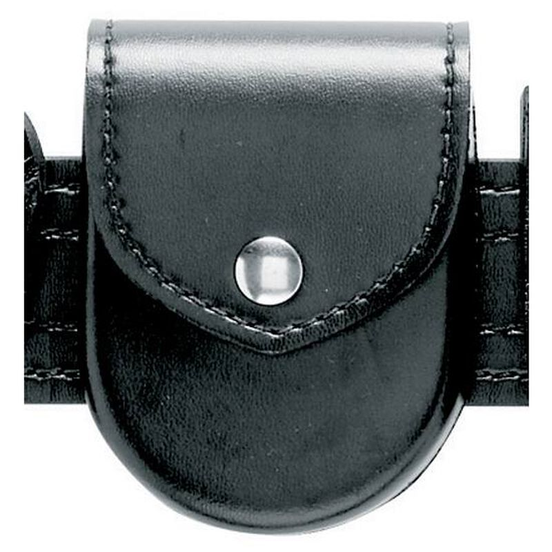 Safariland Model 90H Handcuff Pouch Top Flap Formed Hinged Cuff Only Brass Snap Basket Weave Black 90H-4B