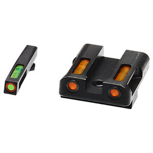 HiViz Litewave H3 Tritium/Litepipe fits GLOCK 45ACP/.45GAP/10MM Auto Models Green Front Sight with Orange Front Ring/Orange Rear Sight Steel Housing Matte Black