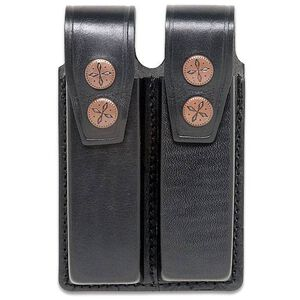 "JBP Double Magazine Case  Black Leather 2"" Belt Loops Holds two single Stack .45 Caliber"