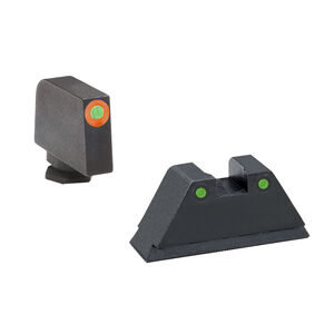 AmeriGlo Tall Suppressor Night Sight Set for GLOCK Green Tritium Front with Orange Outline and Green Tritium Rear Dots