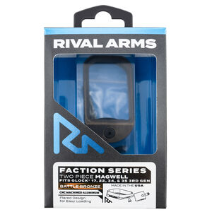 Rival Arms Faction Series Two Piece Magwell for GLOCK 17/22/34/35 Gen 3 Models Aluminum Anodized Battle Bronze/Black Finish