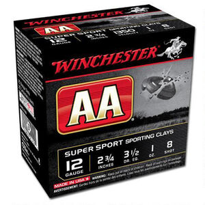 "Winchester AA Super Sport 12 Gauge Ammunition 250 Rounds 2.75"" #8 Lead 1 Ounce AASCL128"