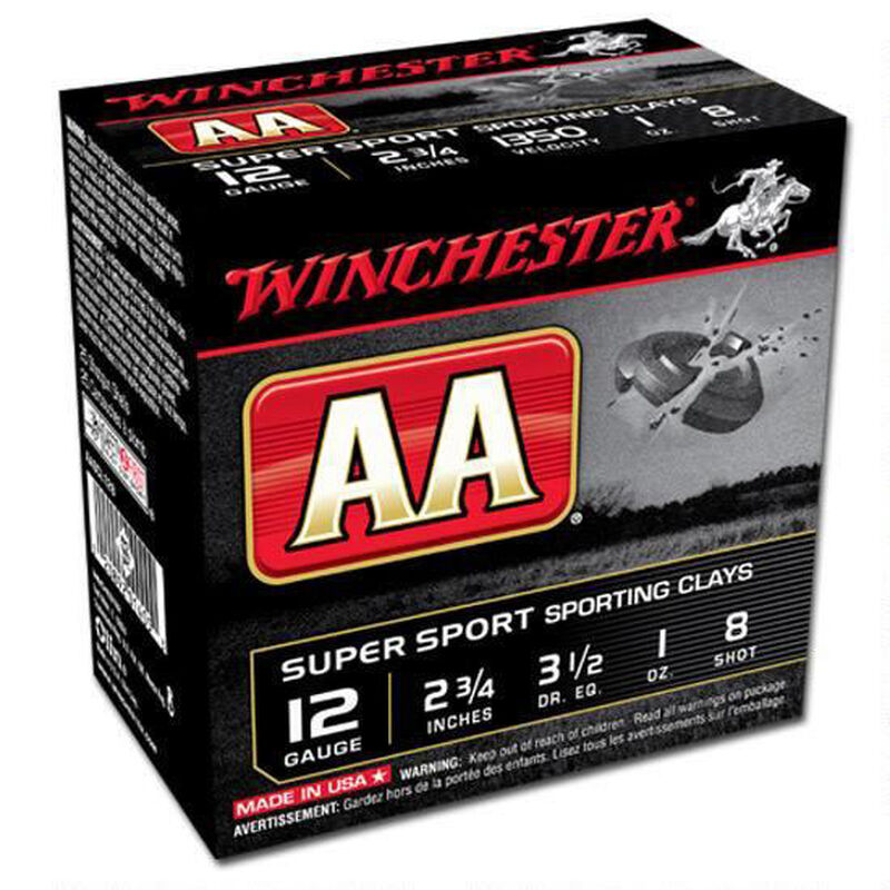 "Winchester AA Super Sport 12 Gauge Ammunition 250 Rounds 2.75"" #8 Lead 1 Ounce AASCL128"