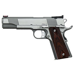 """Dan Wesson 1911 Pointman Government Semi Auto Pistol .38 Super 5"""" Barrel 9 Rounds Fiber Optic Front Sight G-10 Grips Stainless Steel Frame Brushed Finish"""