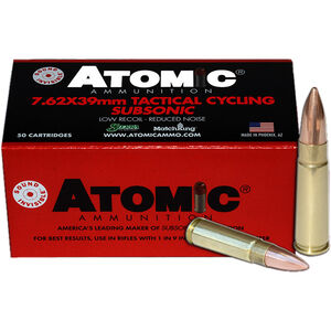 Atomic Tactical Cycling 7.62x39 Sub-Sonic Ammunition 50 Rounds 220 Grain BTHP 1050fps