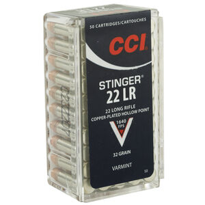 CCI Stinger .22 Long Rifle Ammunition 50 Round 32 Grain Copper Plated Hollow Point 1640fps