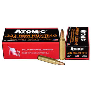 Atomic Hunting .223 Remington Ammunition 20 Rounds 112 Grain Round Nose Soft Point Projectile 2000fps