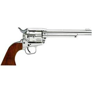 "EAA Bounty Hunter Single Action Revolver .22 LR/.22 Mag 6.75"" Barrel 8 Rounds Fixed Sight Walnut Grips Nickel Finish 771105"