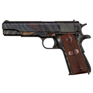 "Auto-Ordnance Case Hardened 1911 Semi Auto Pistol .45 ACP 5"" Barrel 7 Rounds Magazine Blade Front Sight/Rear Drift Adjustable Sight Checkered Wood US Logo Grips CH Clear Coat Finish"