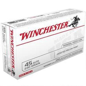 Winchester USA .45 ACP Ammunition 230 Grain JHP 880 fps