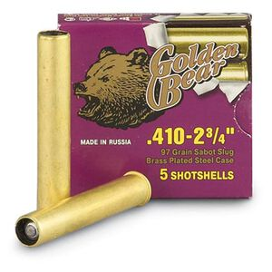 "Golden Bear .410 Bore 3"" 97 Gn Lead Slug Brass Case 5 Rnd"