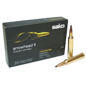 Sako Arrowhead II 7mm Rem Mag Ammunition 20 Rounds Swift Scirocco 150 Grains PC27407B-BX