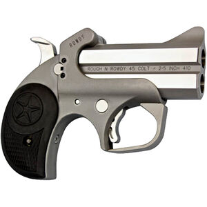 "Bond Arms Rowdy .45 LC/.410 Bore Derringer 3"" Stainless Steel Barrels Fixed Sights Rubber Grip Matte Stainless Steel Finish"