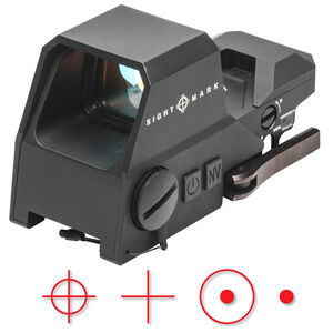 Sightmark Ultra Shot A-Spec Reflex Sight Red Multi-Reticle 1 MOA Adjustment CR123A Battery Picatinny QD Mount Aluminum Housing Matte Black Finish