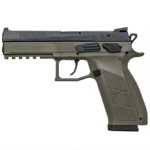 "CZ P-09 9mm Luger Semi Auto Pistol 4.54"" Barrel 10 Rounds Night Sights Omega Trigger Polymer Frame OD Green Finish"