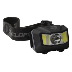 Cyclops 250 Lumen Conductive Touch Headlamp 250 Max Lumens Cree LED Bulb 3 AAA Batteries Touchpad Polymer Black