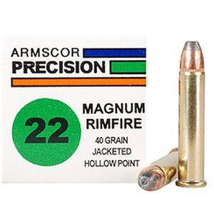 Armscor USA .22 WMR Ammunition, 50 Rounds, JHP, 40 Grains