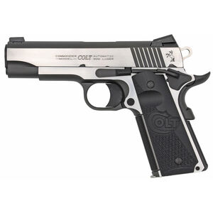 "Colt 1911 Combat Elite Commander Model Semi Auto Pistol 9mm Luger 4.25"" Barrel 9 Rounds Ambidextrous Safety Novak Night Sights G10 Grips Two Tone Finish"
