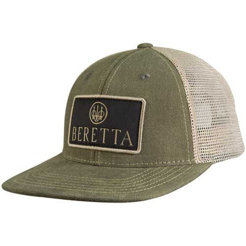 Beretta Truckers Cap Flat Bill Mesh Back OSFM Olive and Khaki
